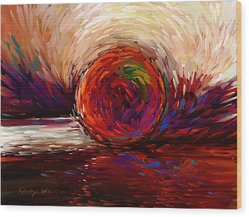 Speed - Dramatic Red And  Purple Abstract Print On Canvas Wood Print by Kanayo Ede