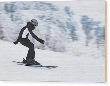 Speed On Snow Wood Print by Vlad Baciu