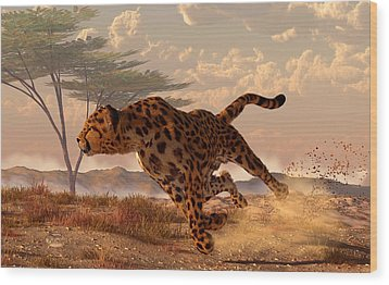 Speeding Cheetah Wood Print by Daniel Eskridge
