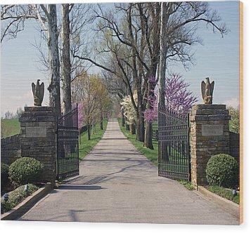 Spendthrift Farm Entrance Wood Print by Roger Potts