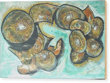 Wood Print featuring the painting Spheres And Kabbalah by Esther Newman-Cohen
