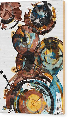 Wood Print featuring the painting Spherical Happiness Series - 993.042212 by Kris Haas