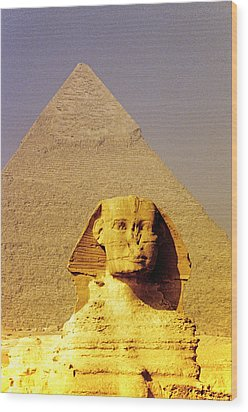 Sphinx And Pyramid Wood Print by Dennis Cox WorldViews