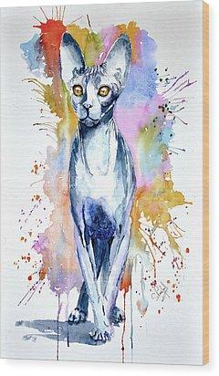 Sphinx Cat Wood Print by Steven Ponsford