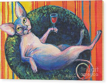 Sphynx Cat Relaxing Wood Print by Svetlana Novikova