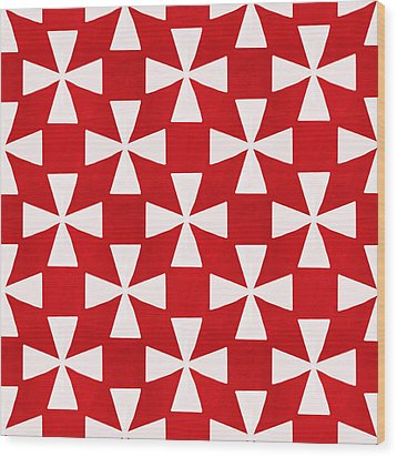 Spice Twirl- Red And White Pattern Wood Print by Linda Woods