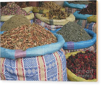 Spices At The Souk Wood Print by Sophie Vigneault