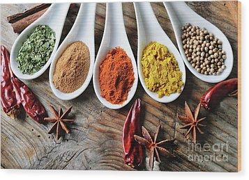 Spices Wood Print by Jelena Jovanovic