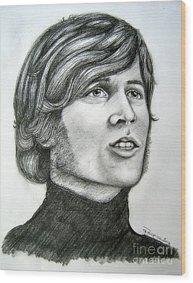 Wood Print featuring the drawing  A Young Barry Gibb by Patrice Torrillo
