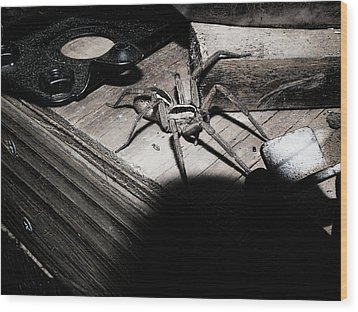 Wood Print featuring the digital art Spider B And W by Robert Rhoads