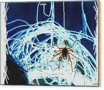 Wood Print featuring the digital art Spider by Daniel Janda