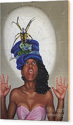 Spider Hat Wood Print by Shelley Laffal