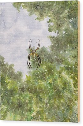 Spider In Web #2 Wood Print