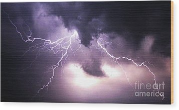 Spider Lightening Wood Print by Angela Wright