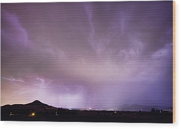 Spider Lightning Above Haystack Boulder Colorado Wood Print by James BO  Insogna