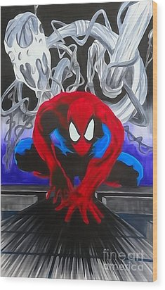 Spider-man Watercolor Wood Print by Justin Moore