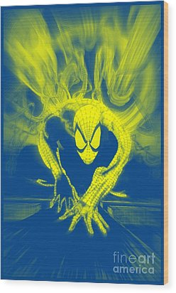 Spider-man Y B Blast Wood Print by Justin Moore