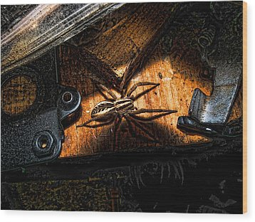 Wood Print featuring the digital art Spider Of The Midnight Lite by Robert Rhoads