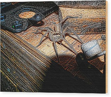 Wood Print featuring the digital art Spider On The Move by Robert Rhoads