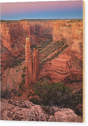 Spider Rock Sunset Wood Print by Alan Vance Ley