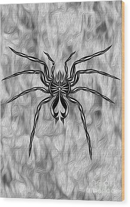 Spider Tatoo Wood Print by Gregory Dyer