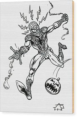 Spidey Dodges A Pumpkin Bomb Wood Print by John Ashton Golden