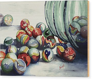 Spilled Marbles Wood Print by Sam Sidders