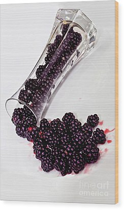 Spilt Blackberries Wood Print by Shirley Mangini