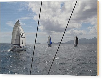 Spinnakers In The Seychelles Wood Print