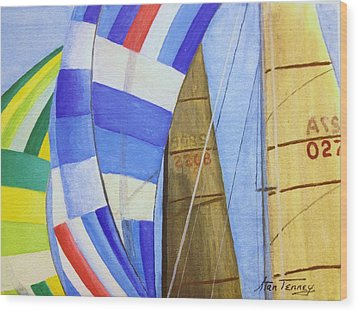 Spinnakers Wood Print by Stan Tenney