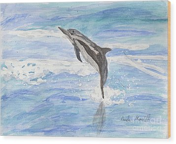 Spinner Dolphin Wood Print by Pamela  Meredith