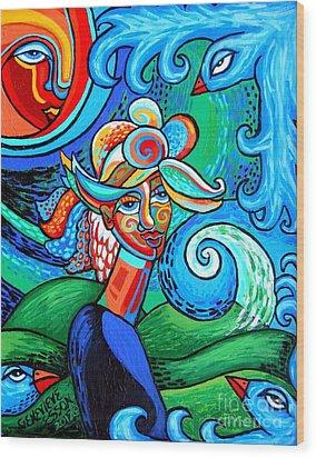 Spiral Bird Lady Wood Print by Genevieve Esson
