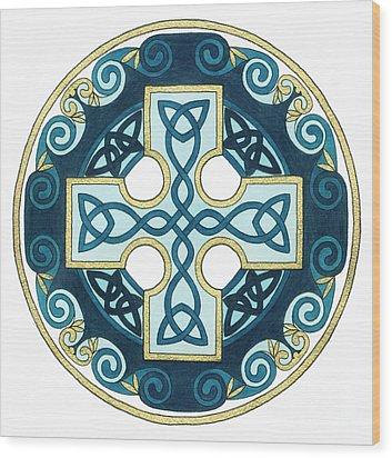 Spiral Cross Wood Print by Cari Buziak