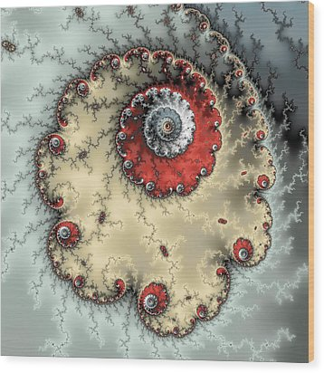 Spiral - Fractal Artwork In Yellow Gray And Red Wood Print by Matthias Hauser