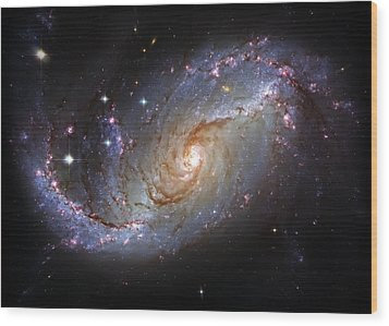 Spiral Galaxy Ngc 1672 Wood Print by Jennifer Rondinelli Reilly - Fine Art Photography