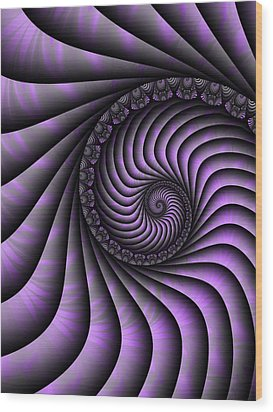 Spiral Purple And Grey Wood Print by Gabiw Art