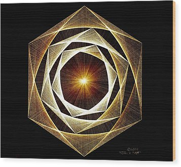 Wood Print featuring the drawing Spiral Scalar by Jason Padgett