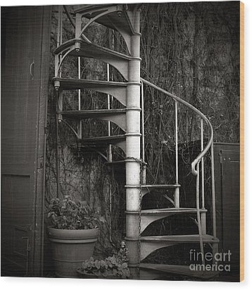 Spiral Staircase Wood Print by Charmian Vistaunet