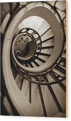 Spiral Staircase Wood Print by Sebastian Musial