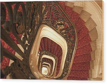 Spiral Stairs Wood Print