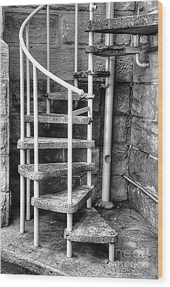 Spiral Steps - Old Sandstone Church Wood Print by Kaye Menner