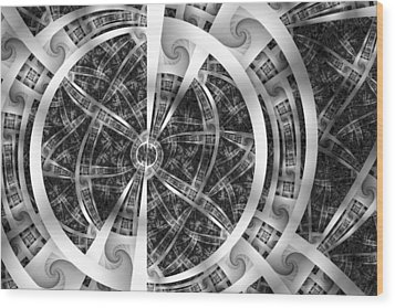 Spirals Spokes And Curves No. 3 Wood Print by Mark Eggleston