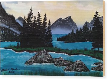 Wood Print featuring the painting Spirit Island by Michael Rucker