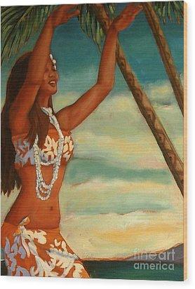 Spirit Of Hula Detail Wood Print
