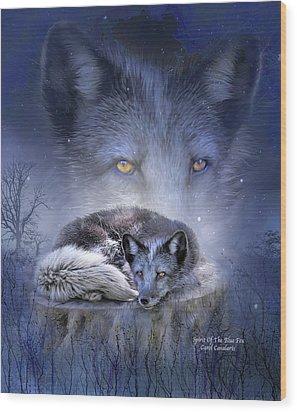 Spirit Of The Blue Fox Wood Print by Carol Cavalaris