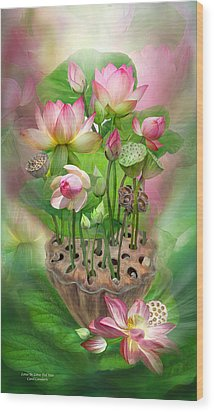 Spirit Of The Lotus Wood Print by Carol Cavalaris
