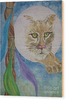 Wood Print featuring the painting Spirit Of The Mountain Lion by Ellen Levinson