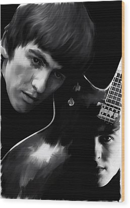 Spirit Play George Harrison Wood Print by Iconic Images Art Gallery David Pucciarelli