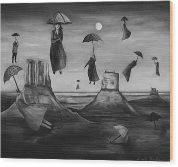 Spirits Of The Flying Umbrellas Bw Wood Print by Leah Saulnier The Painting Maniac
