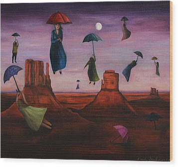 Spirits Of The Flying Umbrellas Wood Print by Leah Saulnier The Painting Maniac